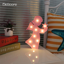 DELICORE 9 LED Angel Plastic Night Light 3D Marquee Desk Table Lamp Letter Lights Kids Room Decoration Pink/White/Blue Lamp S028(China)