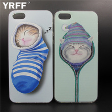 YRFF Lovely cartoon cat Back Case Cover For iPhone 5 5S 6 6s plus case Socks cat pattern for iPhone 5S 5G Phone Cases shell