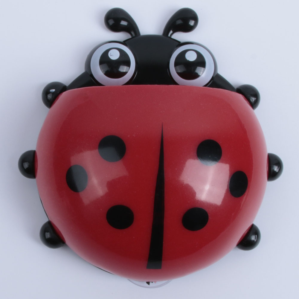 1pc Cute Novelty Ladybug Toothbrush Holder Toiletries Toothpaste Holder Bathroom Sets Suction Tooth Brush Container Bathroom Fixtures