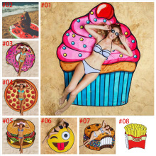 13 Styles Round Beach Towel Pizza Hamburger Skull Ice Cream Smiley Pineapple Watermelon Round Shower Towel Blanket Shawl