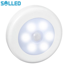 SOLLED Infrared PIR Motion Sensor 6 Led Night Light Magnetic Wireless Detector Light Wall Lamp Light Auto On/Off Closet(China)