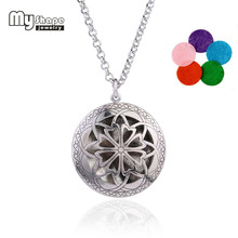 my shape Hollow Love Hearts Small Petals Flower Of Life Pendant With Coroful Refill Perfume Pads Essential Diffuser Necklace