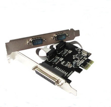 PC computer PCI-E TO 1 Port Printer Parallel Port LPT Female, 2 Port COM Serial Port RS232 Male adapter converter card(China)
