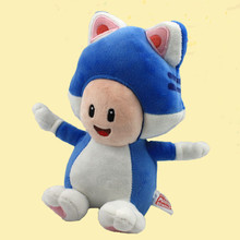 "8""20cm Cat Toad Plsh Toys Super Mario 3D World Blue Mushroom Toad Plush Dolls Toy Stuffed Soft Great Gift Free Shipping"