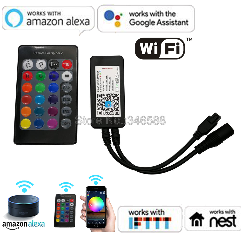 24 Keys Remote Controller For 5050 3528 RGB LED Strip Light WiFi//Alexa//Google US