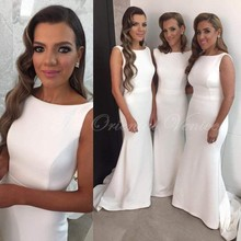 Vestidos de madrinhas 2017 Simple White Mermaid Bridesmaid Dress Fast Delivery Cheap Long Bride Maid Dresses Sweep Train