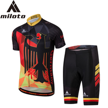 MILOTO Men Cycling Sets Pro Team Bike Clothing Kits Jersey+Bib Shorts Bicycle Clothes Wear Black Eagle Silicon Gel Pad XS-5XL