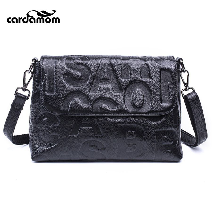 Cardamom Women Shoulder Bags Genuine Leather Fashion Letter Embossing Process Soft Solid Colors Single Shoulder Ladies <br>