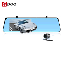 4.3-inch dual-lens thin 1080p 6 LED night vision LCD Rearview mirror HD G-Sensor Motion Detection manual wifi FM car camera(China)