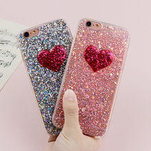 Buy Lovely 3D Red Love Heart Case iPhone 6 Case Flowing Glitter Powder Soft Silicone Cases Apple iPhone 7 6 6s 8 Plus Cases for $2.39 in AliExpress store