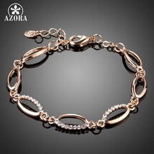 AZORA Rose Gold Color Marquise Stellux Austrian Crystals Tennis Charm Bracelets for Women TS0160