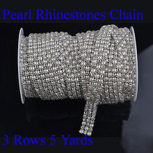 3 Rows X 5 Yards Sewing Accessories SS19 Crystal Clear Pearl Rhinestone Mesh Trimmings(Hong Kong)