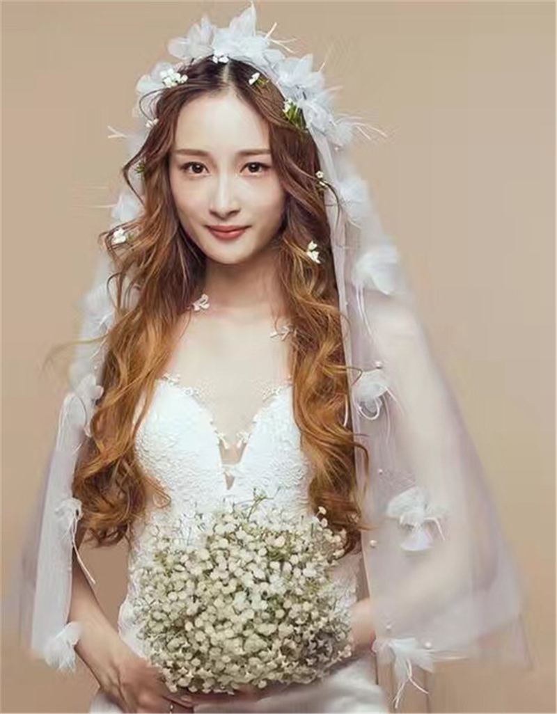 CC jewelry charm headbands bride veil white short flower head dress simple double nude gauze wedding Accessories 8836