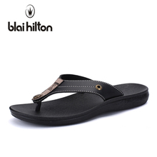 blaibilton 2018 Summer Outside Fashion Casual Slippers Men Shoes Flip Flops Metal Beach Slipper Male Designer High quality SDF93(China)
