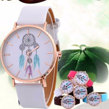 Wind-Chimes Metal Watch Bracelets Gift 2017 Retro Design PU Leather Quartz Watches Women Clock Montre Dress Women Ladies Watches(China)