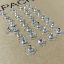 ES2 50 Units \ Pack Alloy Earring Backs 8mm Bullet Clutch Plastic Silver Plated Jewelry Findings Wholesale Free Shipping(China)