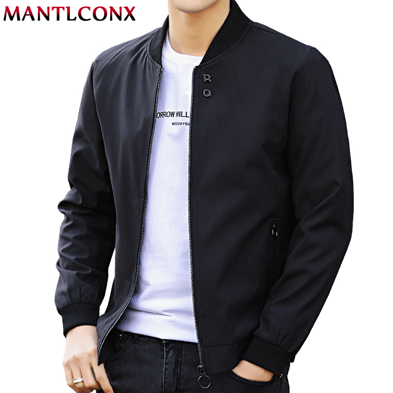 MANTLCONX Mens Jackets Bomber Zipper Male Casual Solid-Autumn Newest title=