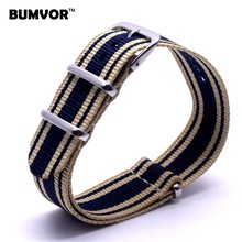 New 22 mm Strong Military Army Multi Color Light Yellow Navy nato fabric Nylon Watch watchband Woven Strap Bands Buckle 22mm