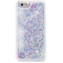 2017 New Product Arrival High Quality Hard Cover Skin Flowing Liquid Floating Glitter Sparkle Love Heart Hard Case for iPhone 6