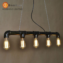 Edison Personalized Bar Lighting Counter Lamps Vintage Club Pendant Lights Water Pipe Pendant Lamp For Warehouse With 5 Lights