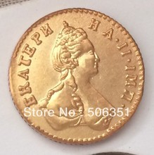 100% 24-K Gold plated 1777 russia 50 Kopeks gold Coins copy