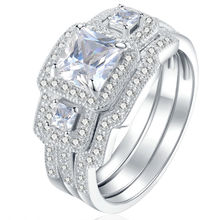 1.5 Ct Ladies 3 Pcs Halo Wedding Ring Sets Solid 925 Sterling Silver Jewelry For Women Princess Cut AAA CZ Free Shipping