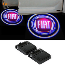 2X Car LED Door Logo Light For Fiat Punto Evo 500 Stilo Bravo Palio Ducato Doblo Linea Panda Uno Coupe Scudo Brava Albea 2 500L