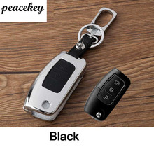 peacekey Leather Car Key Cover wallet For Ford Ecosport Focus Mondeo Edge Fiesta Kuga Escort Car Keychain For Ford Key Rings(China)