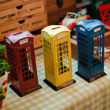 Classic Tinplate Telephone box Piggy Banks Collections Showcase Craftwork Handmade Retro Ironwork Post Models