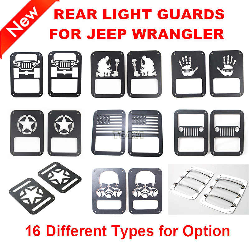 Black Red Steel Tail Light Guards Covers for Jeep ...