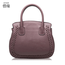 XIYUAN Large red Handbags Hot Sales Nice Leather Hand Bag Litchi Pebble Top Layer Cowide Original Bag Big red/purple/grey/black