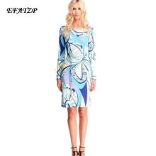 Luxury Brands 2015 Autumn Jersey Silk Dress Women's Long Sleeve Blue Charming Geometric Print Spandex Stretchable Signature