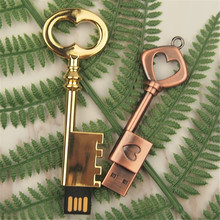 Heart Key USB Flash Drive 64GB Mini USB Stick 32GB Metal Pure Copper Heart Key Pendrive 16GB 8GB 4G Pendrive personalized U disk