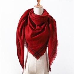Дизайнерский 2019 зимний треугольный шарф для женщин, роскошный бренд, шаль из кашемира, шарфы, теплый для шеи, одеяло, Дамская бандана, Пашмин...