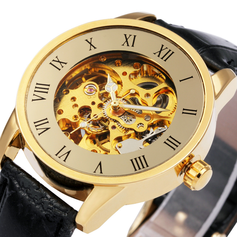 Vintage Skeleton Male Relogio Masculino Luxury Automatic Watches Analog Leather Casual Watch Men Mechanical Watch Gold Roma Dial<br><br>Aliexpress