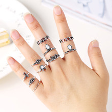 10PC Flowers Moon Band Above Middle Knuckle Alloy Rings Set