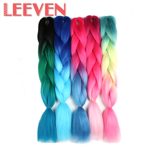 Leeven 24''100g Synthetic Jumbo Braids Hair Ombre Kanekalon Braiding Fiber False Hair Extensions Blue Purple Pink 1PCS(China)