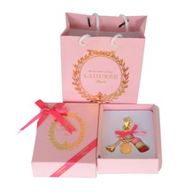 KC15 New Key chain France  Macarons Effiel Tower Keychains New Year Gifts w Box Ribbon Handbag Rose Red free shipping