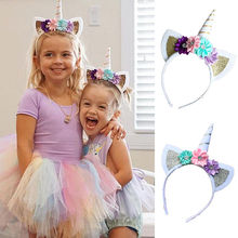 2017 Hot Magical Unicorn Horn Head Party Kids Baby Giril Headband Fancy Dress Decorative Gifts(China)