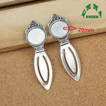 Mini Order Free Shipping 10 Pieces Inner 20mm Antique Silver Tone Earring Bookmark Cabochon Setting Blank Bezel Fit DIY Findings(China)
