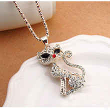 Gold Color Lovely Cat Peandent Costume Necklace Pendent Necklace Women Clothes Jewelry Chain Necklace