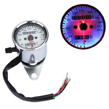 Universal Motorcycle Speedometer Odometer Gauge ATV Bike Scooter Backlit Dual Speed Meter with LED Indicator DC 12V 0~160km/h(China)