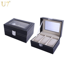 U7 Men Watch Holder Bracelets Jewelry Organizer Box Case Black High Quality PU Leather with A Glass Top Groom Gift For Him OB04(China)