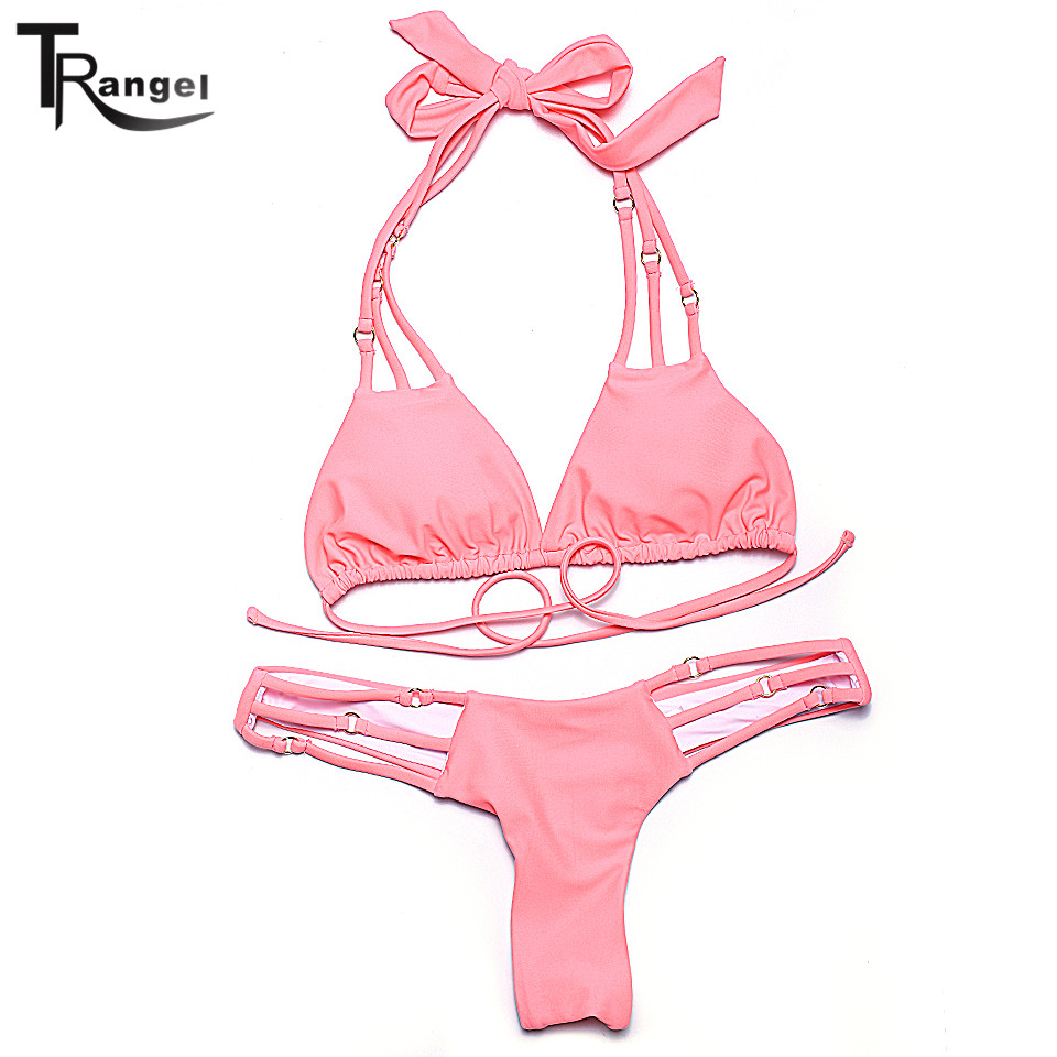Trangel New arrival halter bikinis two pieces swimming wear strappy bottom Brazilian bikinis suits girl soild beachwear LD005<br><br>Aliexpress