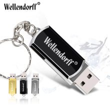 Wholesale USB Flash Drive 32GB Mini Metal Pendrive 16gb Key Chain Pen Drive 4GB 8GB 64GB USB Stick Flash Drive(China)