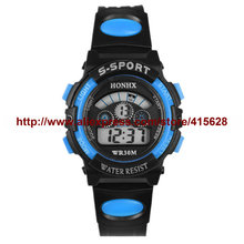 Hot Sale Newest Student Digital Watch Waterproof Outdoor Watches Sports Led Glow Rubber Band watch for Children 100pcs/lot