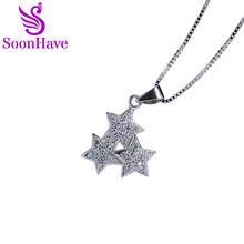 SoonHave Star Charms Zircon 925 Sterling Silver Jewelry Breloque Pour Fabrication Bijoux Halloween Charmes Women Pendant 15*23mm(China)