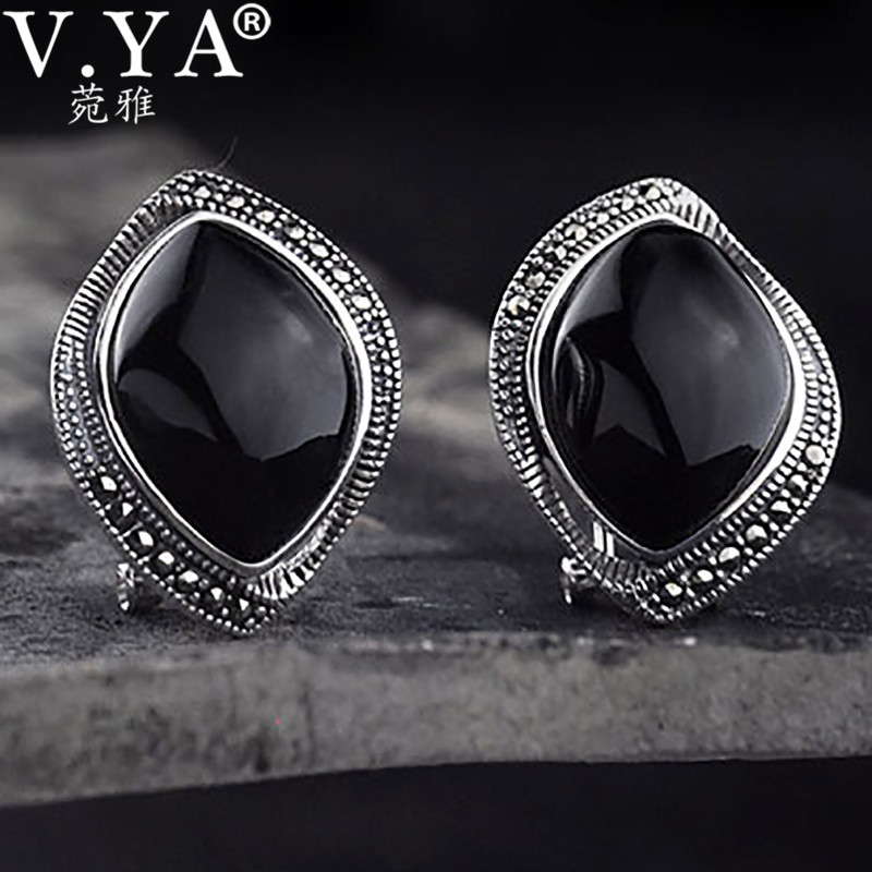 Black Onyx Stone Ball Round Circle Drop Dangling Earrings 925 Sterling Silver