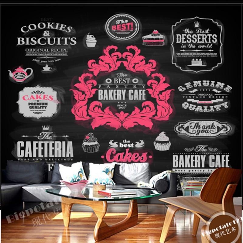 Custom 3D modern wallpaper,food icon European pattern for restaurant cafe bar background wall waterproof PVC papel de parede<br>