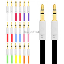 Redbearlin 1M Flat Noodle 3.5mm Car Aux audio Cable Stereo cable accessory bundles for iphone samsung mp3 pc headphone speaker
